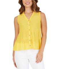 bcx juniors' tiered button-front blouse