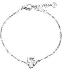 bracciale gufo in acciaio e cristalli per donna
