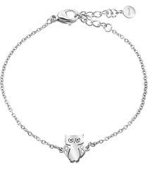 bracciale gufo in acciaio rodiato e cristalli per donna