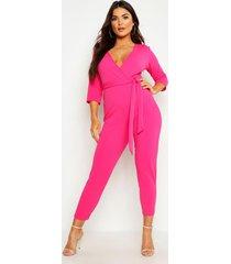 wrap jumpsuit, hot pink