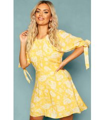 plus floral puff shoulder tie sleeve skater dress, yellow