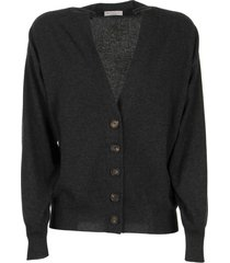brunello cucinelli cashmere cardigan with shiny shoulder bands lignite