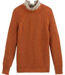 grovstickad tröja 2-i-1 med rosett bak