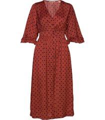 midi length v-neck dress with ruffles knälång klänning röd scotch & soda