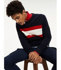 tommy hilfiger men's ribbed chest stripe sweater desert sky navy/red - xs
