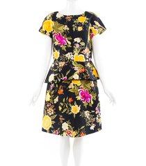 etro floral print cotton peplum dress black/multicolor/floral print sz: l