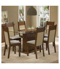 conjunto sala de jantar madesa atlanta mesa tampo de vidro com 6 cadeiras rustic/crema/pérola rustic