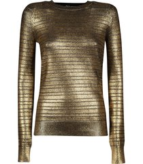 metallic long-sleeve sweater