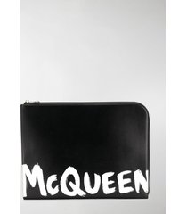 alexander mcqueen logo printed clutch