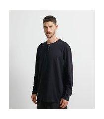 camiseta pijama manga longa com gola henley | viko | preto | p