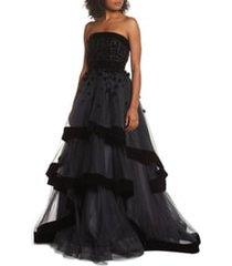 women's mac duggal strapless tiered ballgown, size 16 - black