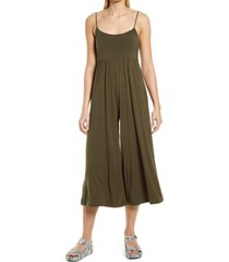 prim easy knit wide leg jumpsuit, size large in olive at nordstrom