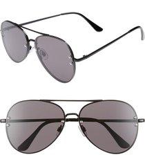 women's bp. 60mm oversize mirrored aviator sunglasses - black