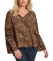 jessica simpson trendy plus size scarletti bell-sleeve top