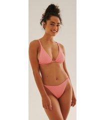 na-kd swimwear ribbstickad bikinitrosa med hög benskärning - pink