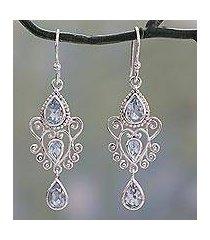 blue topaz dangle earrings, 'enchanted princess' (india)
