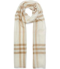 giant check wool-mulberry silk scarf