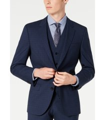 hugo hugo boss men's slim-fit dark blue micro-check suit jacket