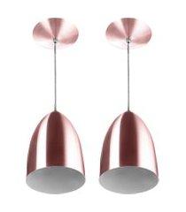 kit 2 lustre pendente luminária cone de alumínio gold rose