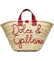 dolce & gabbana kendra logo-embroidered raffia tote bag - neutrals