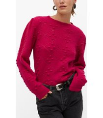 mango women's embossed contrasting knit sweater