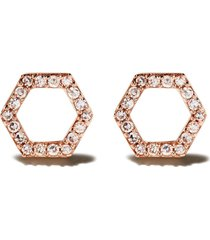 astley clarke 14kt rose gold honeycomb diamond stud earrings -
