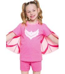 pijama fantasia corujita veggi rosa - rosa - menina - algodã£o - dafiti