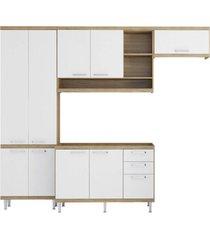 cozinha compacta completa multimã³veis com 4 peã§as sicãlia 5840 argila/branco - bege/incolor - dafiti