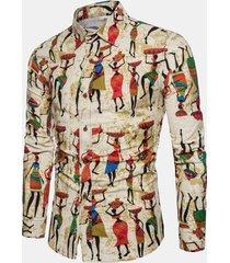 camicia stampata in lino a maniche lunghe