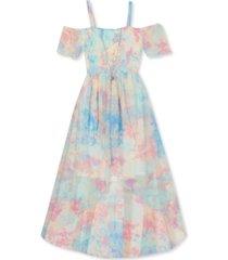 rare editions big girls tie-dye cold-shoulder dress