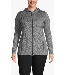 lane bryant women's active spacedye hooded zip-front jacket 22/24 black and white