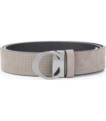 canali textured strap belt - grey