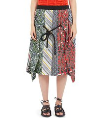 silk multi-print skirt