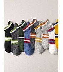 calcetines cortos hasta el tobillo de corte bajo de algodón estampado a rayas con letras para hombre