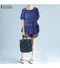zanzea playa de las mujeres de vacaciones túnica de la blusa tee camiseta floja superior floral de boho -azul
