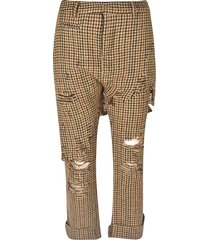 r13 distressed checked trousers