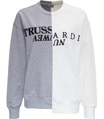 trussardi bicolor jersey sweatshirt with logo