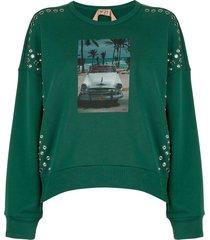 nº21 snap studded photographic sweatshirt - green