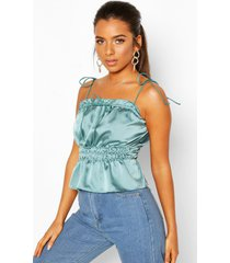 petite ruched waist satin top, turquoise