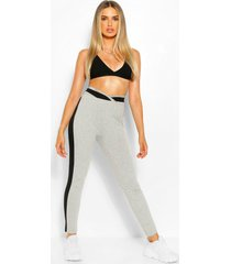 contrast colour block legging, grey marl