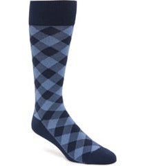 men's nordstrom ultrasoft buffalo check socks, size one size - blue