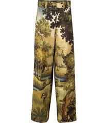 printed full leg belted trouser