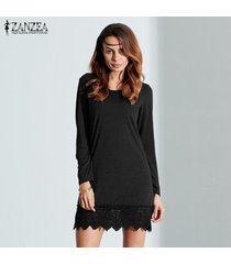 zanzea mujer mini manga larga de algodón elástico camisa elástica vestido tops blusa negro -negro