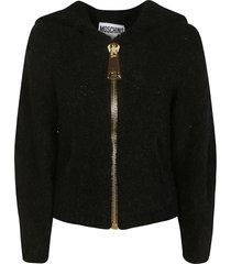 moschino thick zip hoodie
