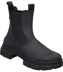 recycled rubber shoes boots ankle boots ankle boot - flat svart ganni