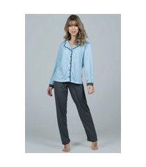 pijama feminino bella fiore modas longo com botões imperium azul claro