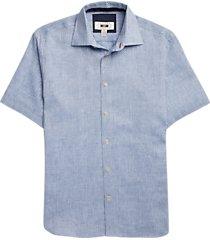 joseph abboud blue diamond short sleeve sport shirt