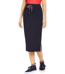 tommy hilfiger side-stripe midi skirt