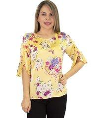elvira burgos - blusa para dama elegante de moda en seda- ref 77131915 - amarillo estampado digital exclusivo