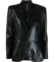 norma kamali coated blazer - black